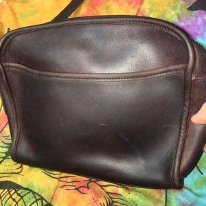 VTG COACH Dark Brown Leather Crossbody Purse Used